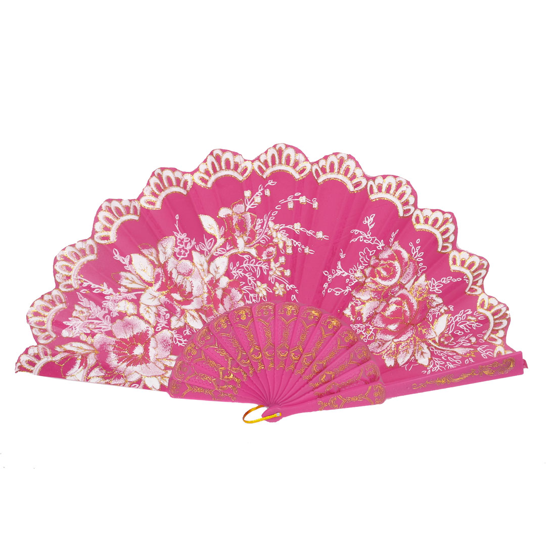 Women Wedding Party Plastic Rib Flower Pattern Hanging D Ring Folding Hand Fan Fuchsia