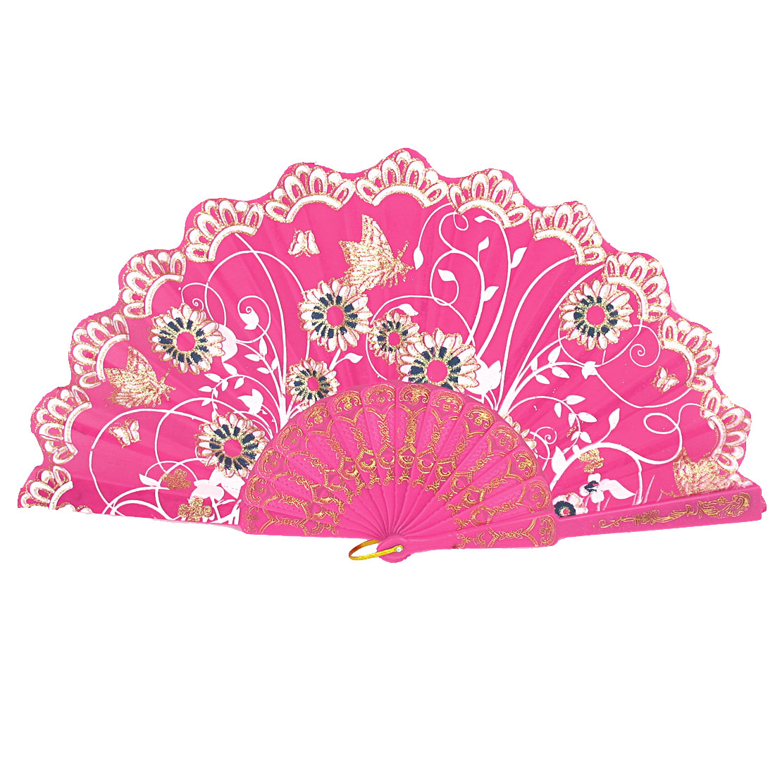 Lady Wedding Party Gift Plastic Ribs Flower Butterfly Pattern Folding Hand Fan Fuchsia