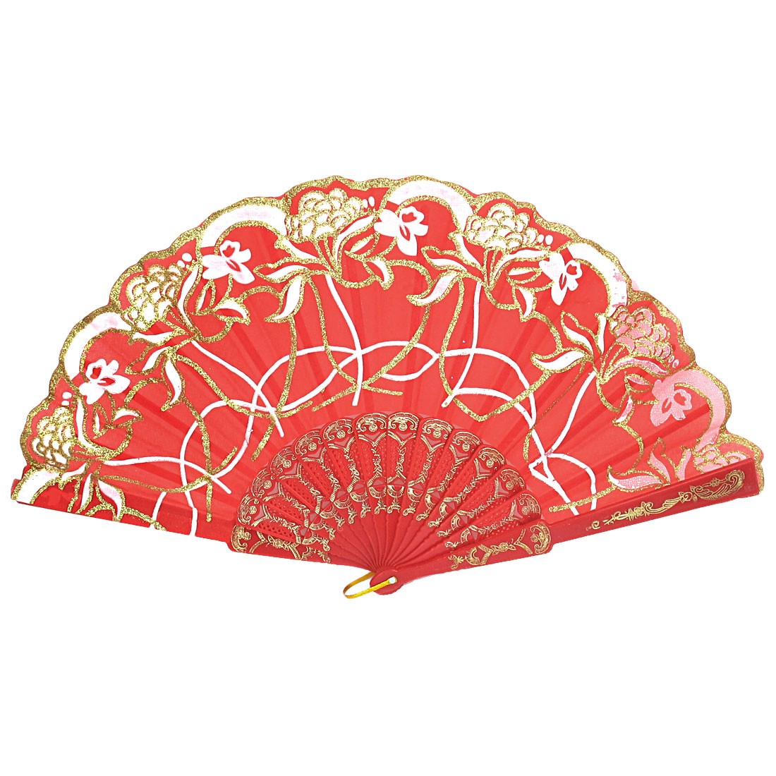 Wedding Party Gift Plastic Frame Flower Print Handheld Folding Hand Fan Red