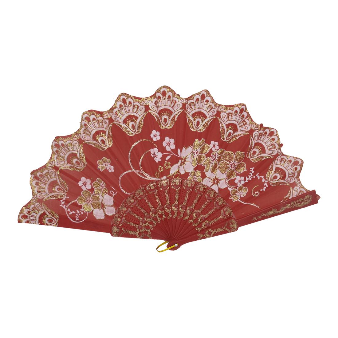 Women Carved Ribs Glittery Powder Decor Flower Pattern Folding Hand Fan Red