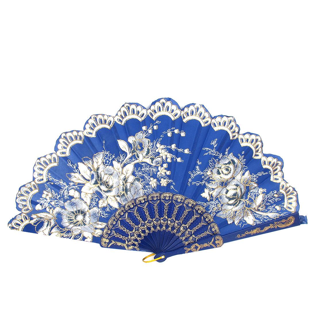 Women Wedding Party Plastic Rib Flower Pattern Hanging D Ring Folding Hand Fan Blue