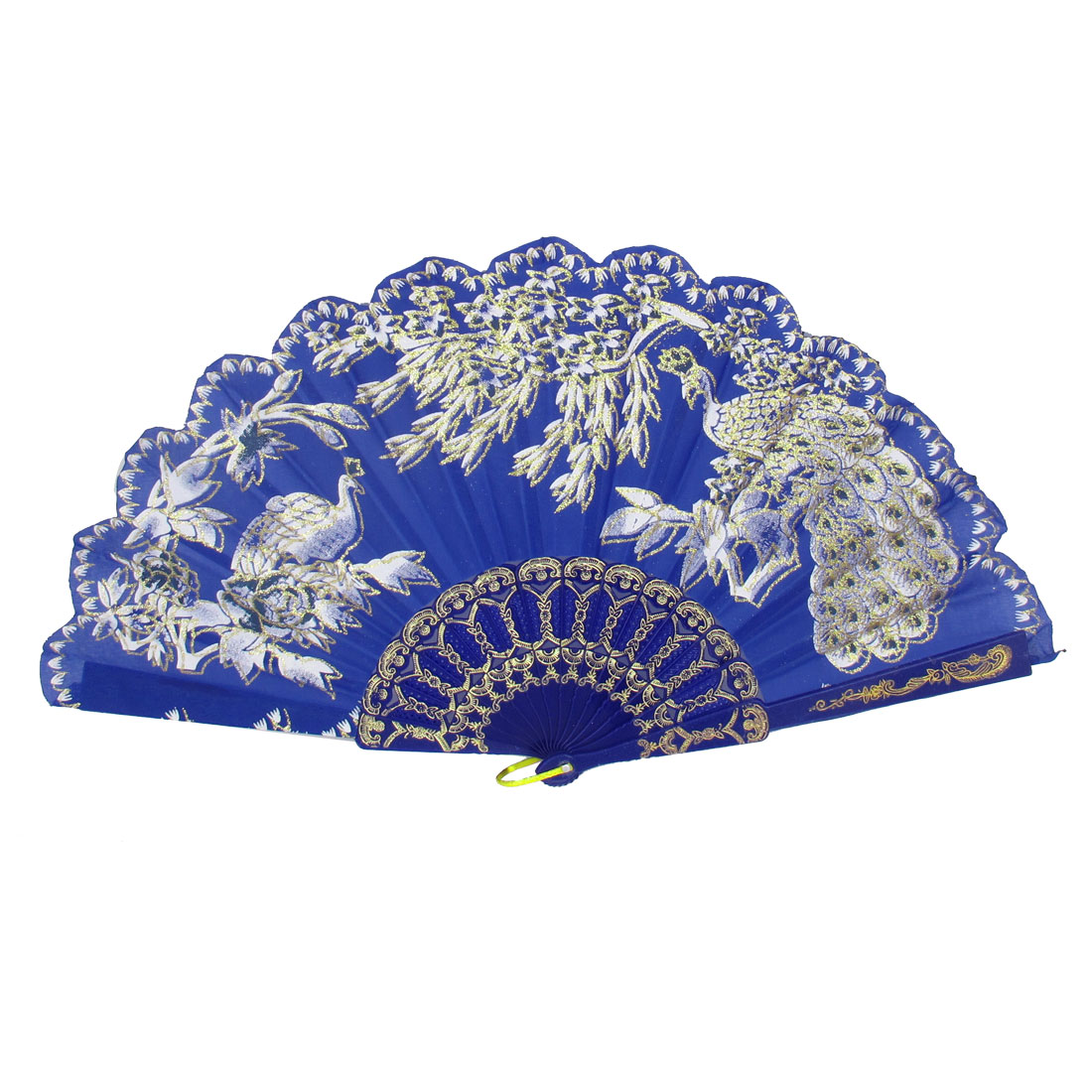 Women Party Gift Carved Ribs Floral Peacock Pattern Folding Hand Fan Blue