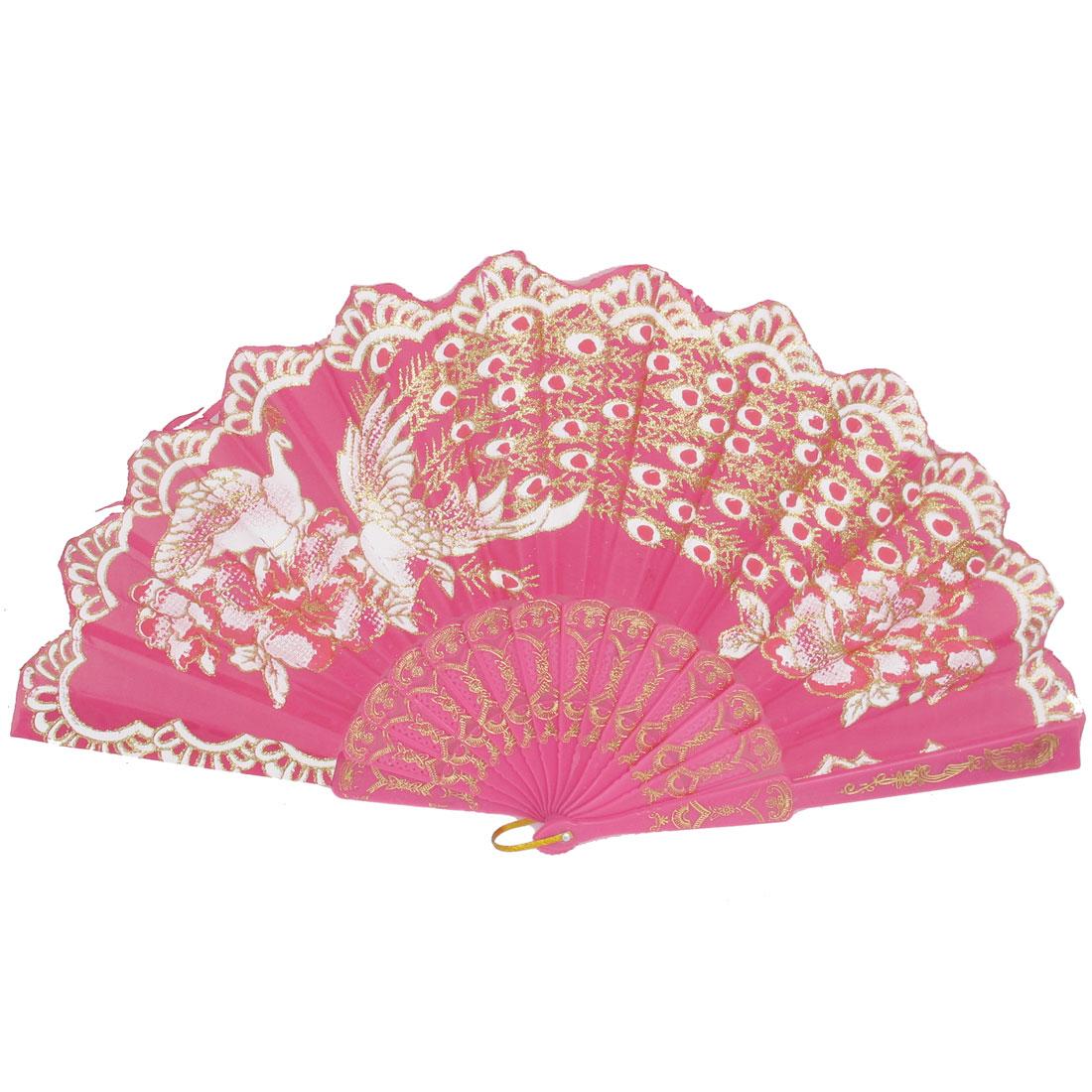 Women Party Gift Plastic Rib Peacock Pattern Foldable Folding Hand Fan Fuchsia