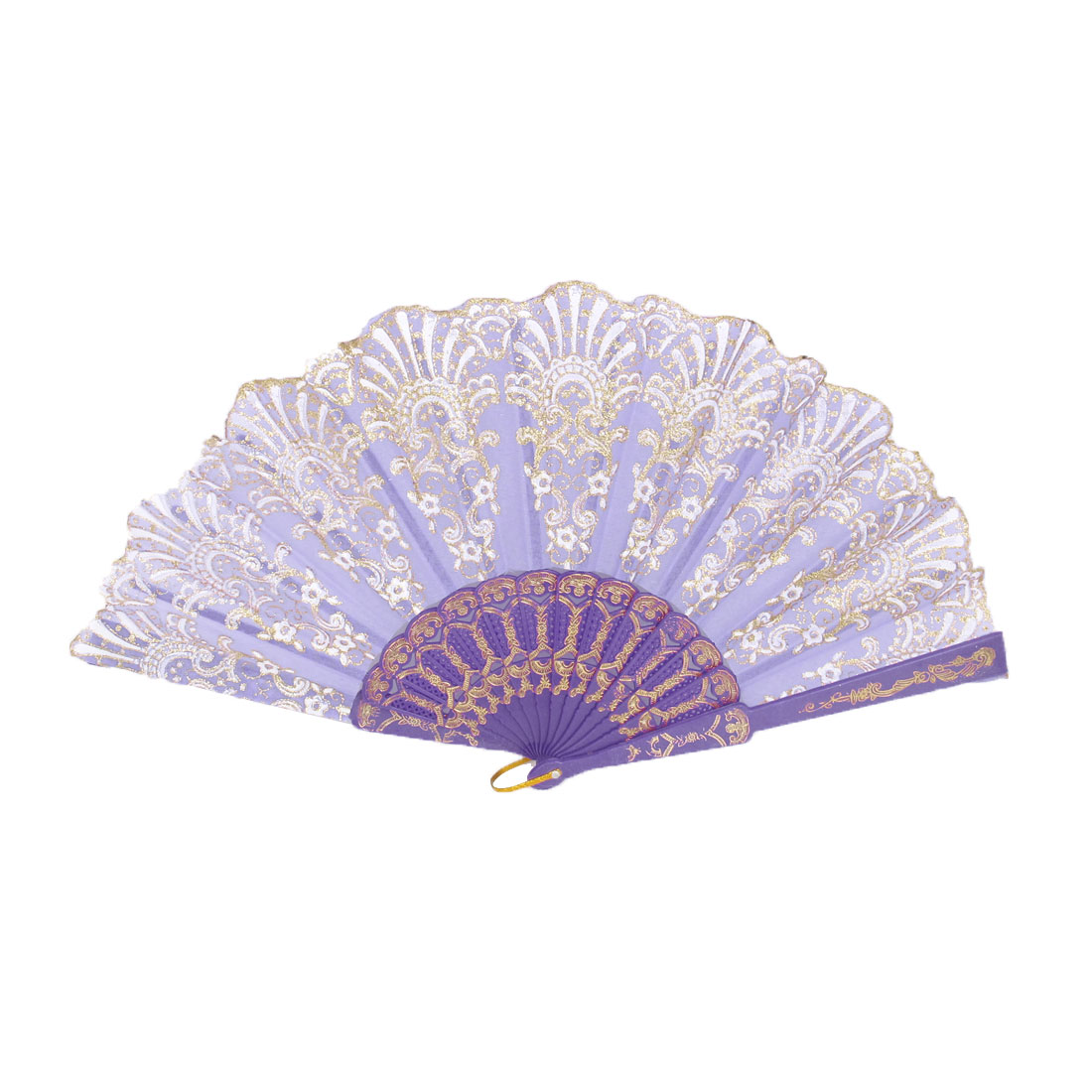 Wedding Party Gift Plastic Rib Floral Print Handheld Dancing Folding Hand Fan Purple