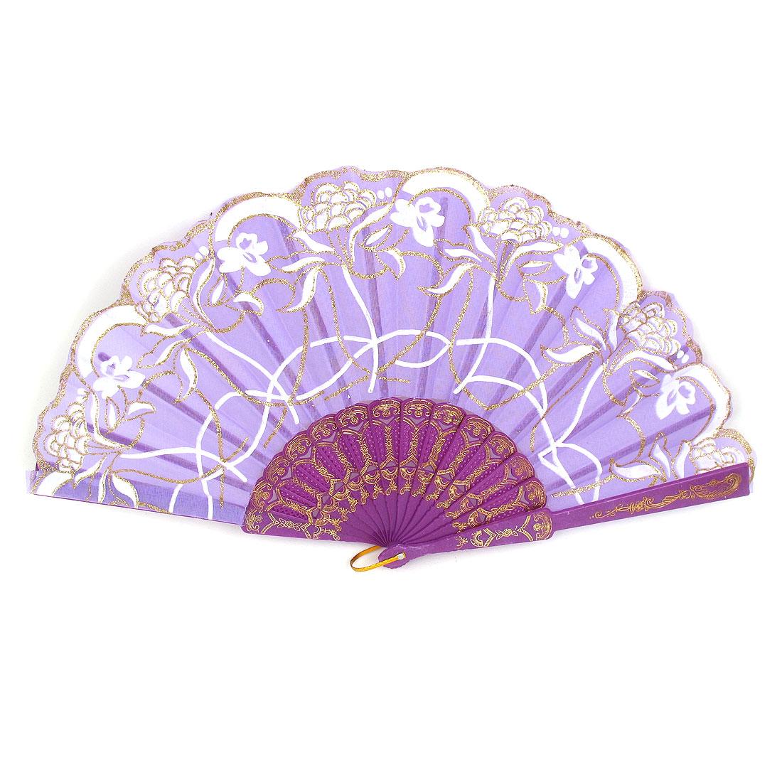 Wedding Party Gift Plastic Frame Flower Print Handheld Folding Hand Fan Purple