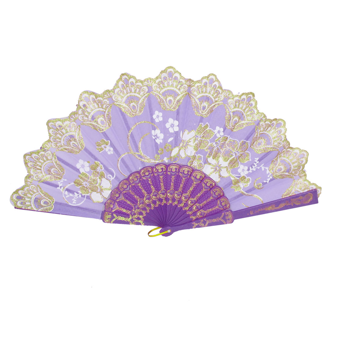Women Carved Ribs Glittery Powder Decor Flower Pattern Folding Hand Fan Purple