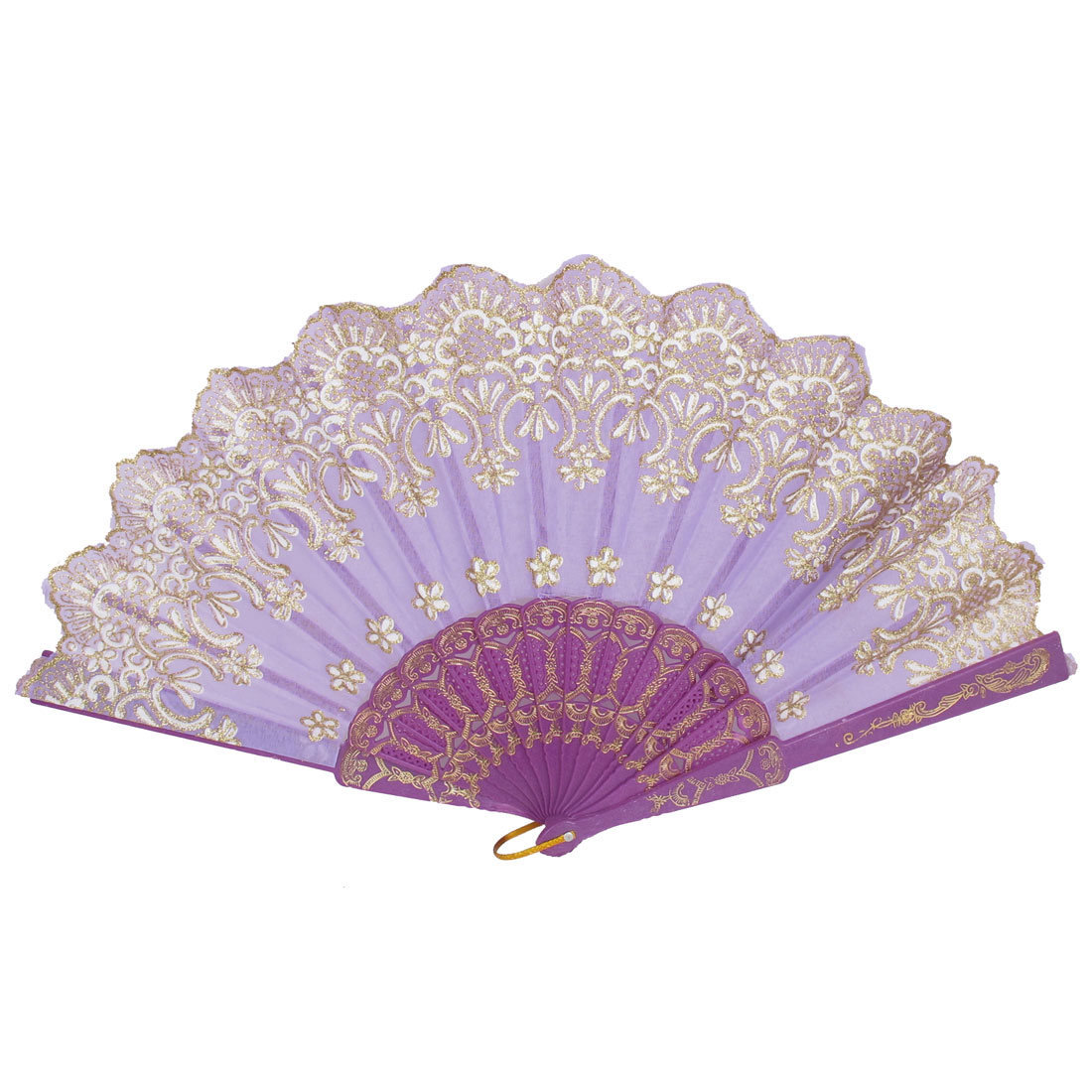 Wedding Party Gift Plastic Frame Wavy Edge Flower Printed Dancing Folding Hand Fan Purple