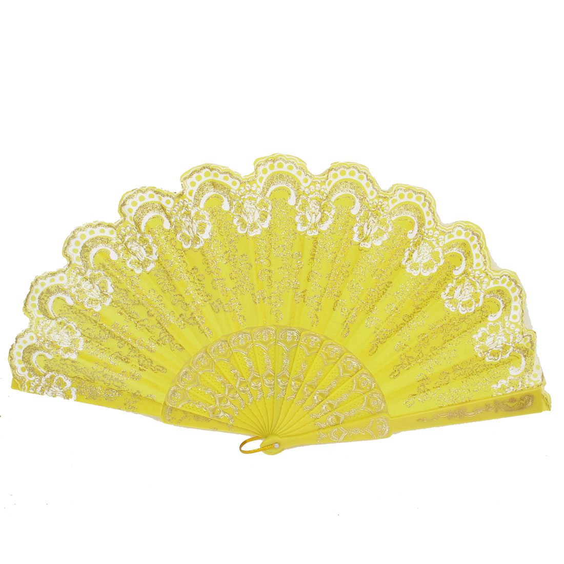 Wedding Party Gift Plastic Rib Glittery Powder Decor Flower Pattern Dancing Folding Hand Fan Yellow