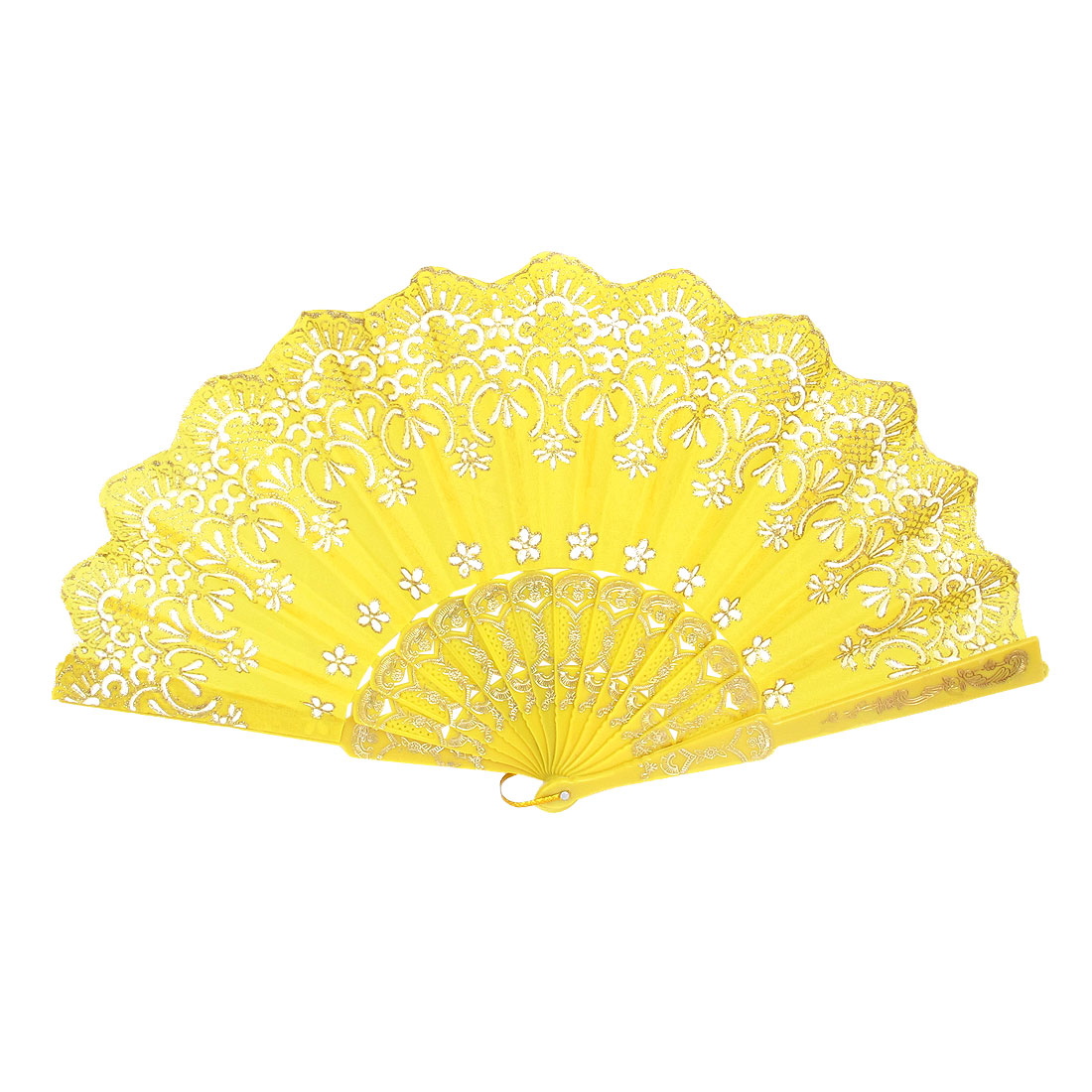 Wedding Party Gift Plastic Frame Wavy Edge Flower Printed Dancing Folding Hand Fan Yellow