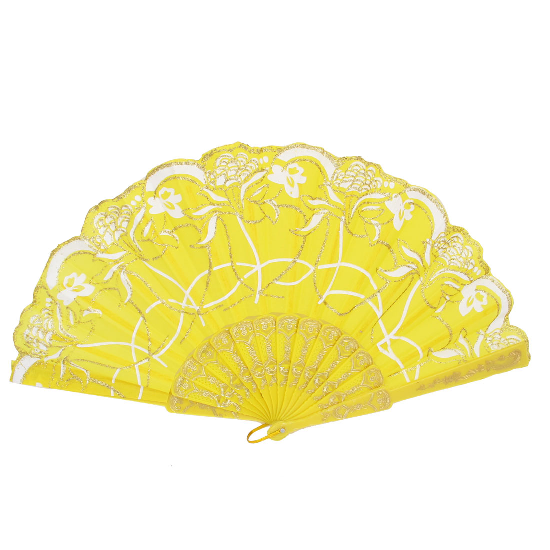 Wedding Party Gift Plastic Frame Flower Print Handheld Folding Hand Fan Yellow