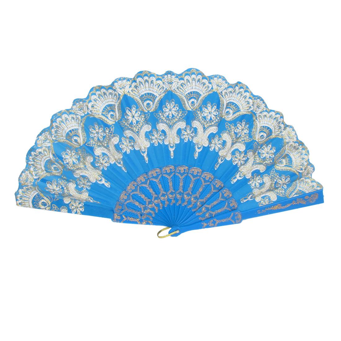 Blue Plastic Ribs Flower Pattern Powder Detail Dancing Folding Hand Fan