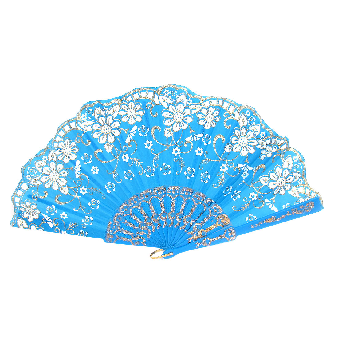 Carved Ribs Glittery Powder Decoration Wavy Edge Folding Hand Fan Blue for Women