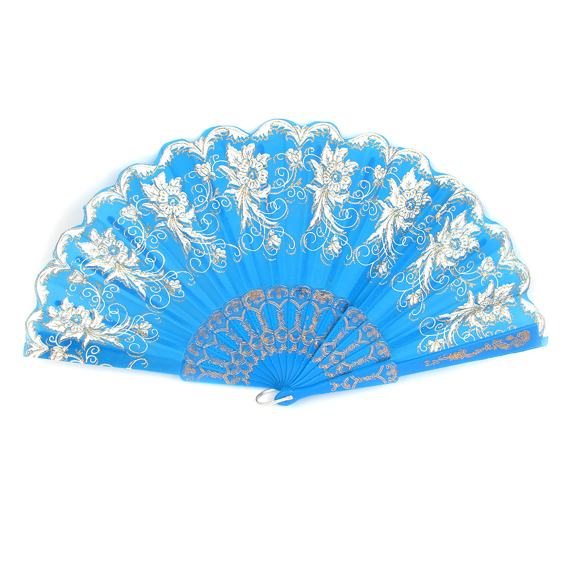 Blue Carved Plastic Rib Hollow Out Frame Foldable Dancing Hand Fan for Lady