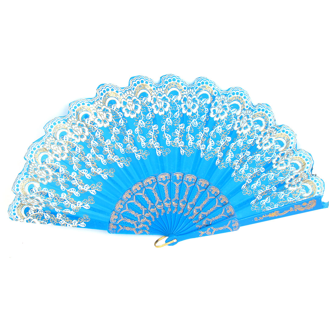 Blue Glittery Powder Accent Flower Print Wavy Edge Handheld Folding Hand Fan