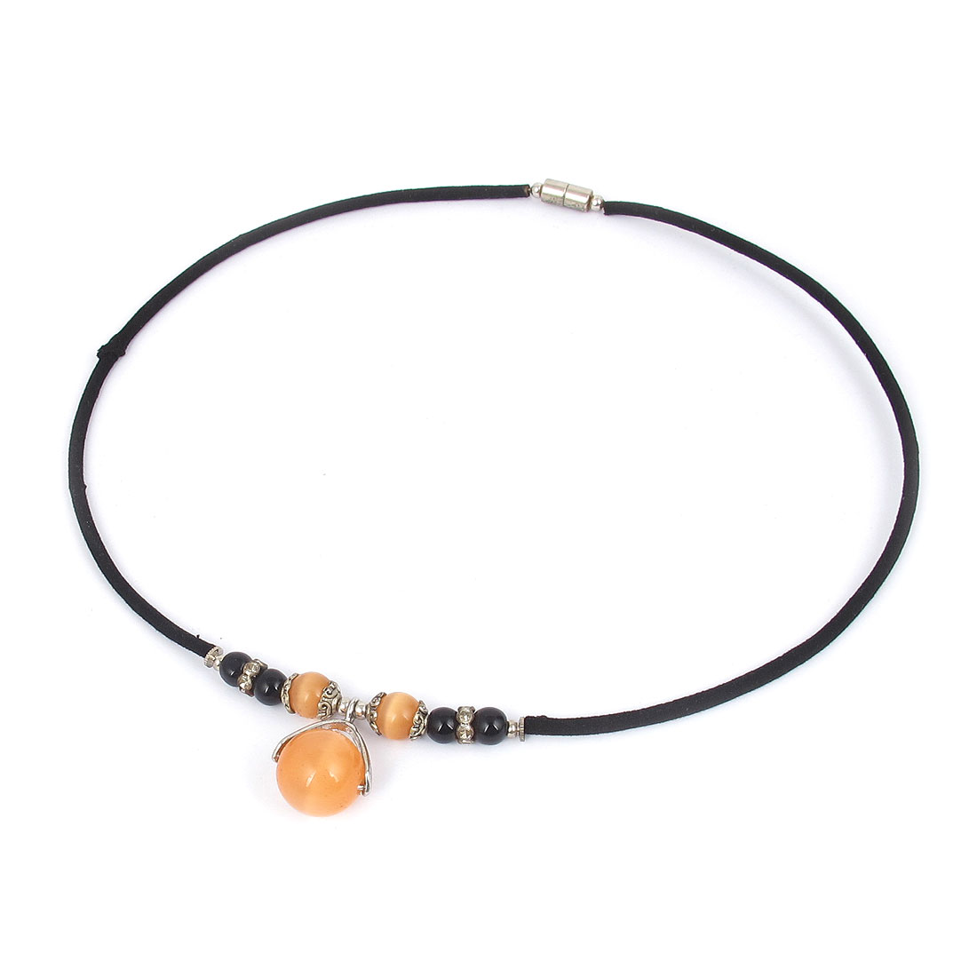 14mm OD Round Opal Bead Pendant Neck Ornament Necklace Black Pink Orange for Women