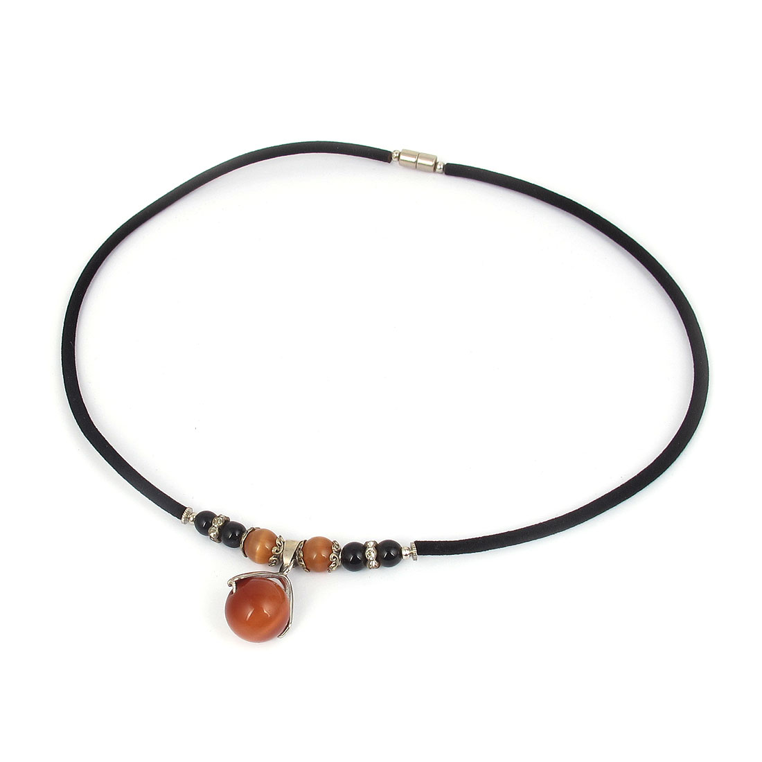 14mm OD Round Opal Bead Pendant Neck Ornament Necklace Black Orange for Women