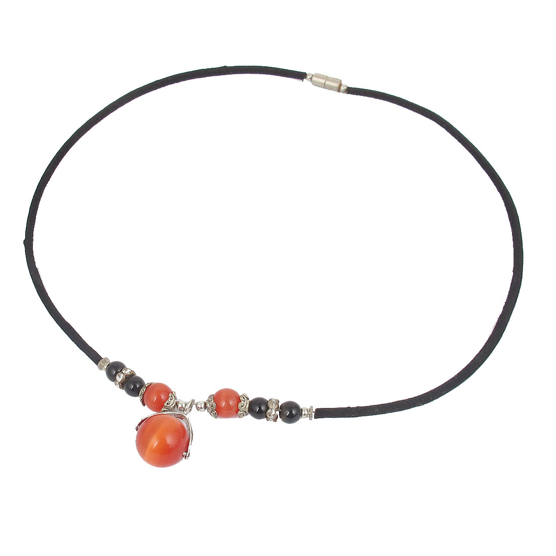14mm OD Round Opal Bead Pendant Neck Ornament Necklace Red Black for Lady
