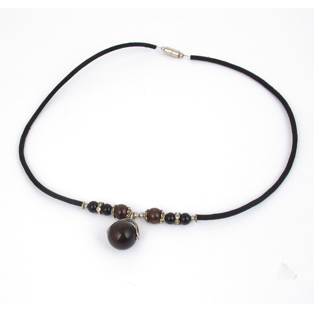 14mm OD Round Opal Bead Accent Neck Ornament Necklace Black for Women