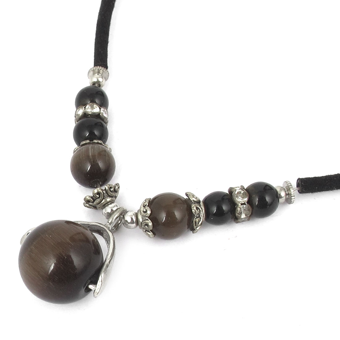 14mm OD Round Opal Bead Pendant Neck Ornament Necklace Coffee Color Black for Women