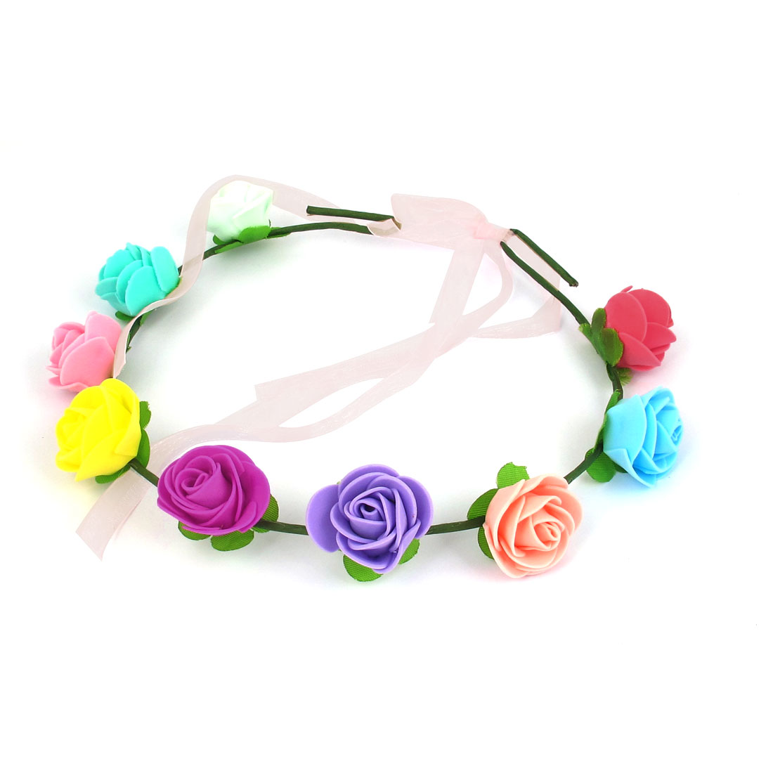 Women Hairdressing Flowers Design Elastic Headwear Hair Garland Crown Wreath Multicolor
