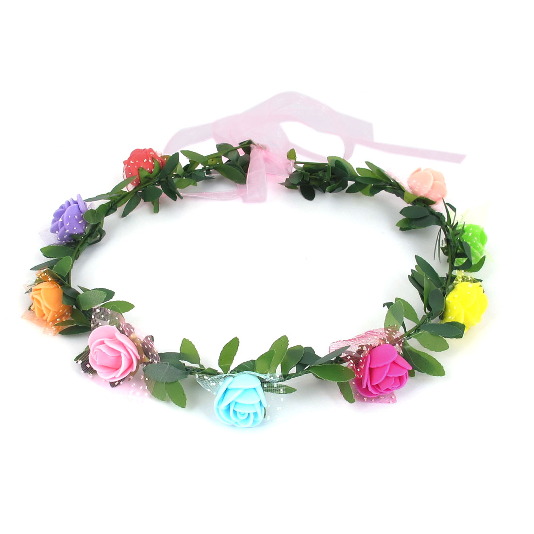 Lady Wedding Party Flower Decor Adjustable Headwear Headdress Hair Crown Wreath Multicolor