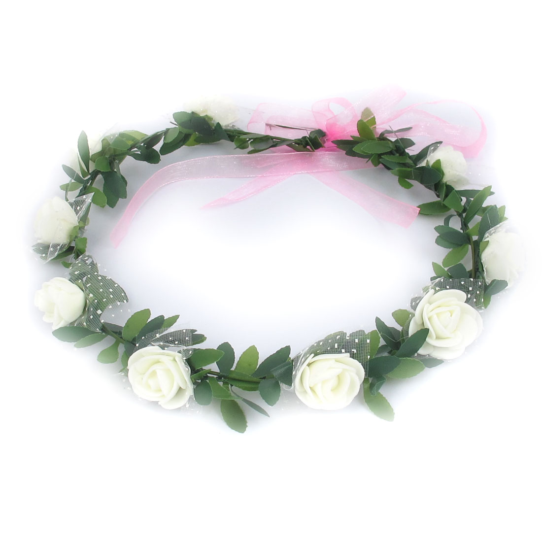 Lady Wedding Party Flower Decor Adjustable Headwear Headdress Hair Crown Wreath White