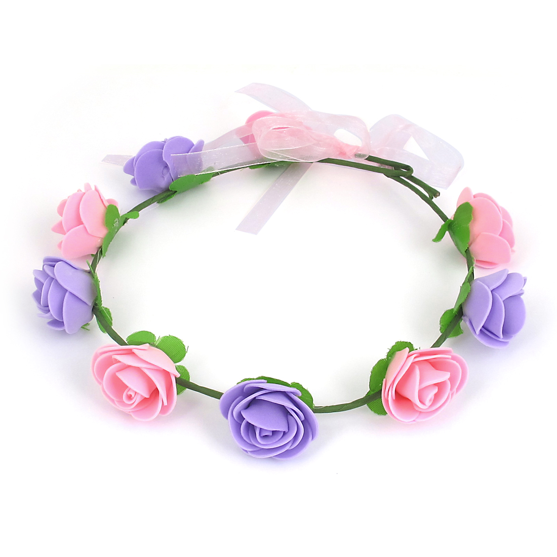 Women Hairdressing Flowers Design Elastic Headwear Hair Crown Wreath Pink Purple