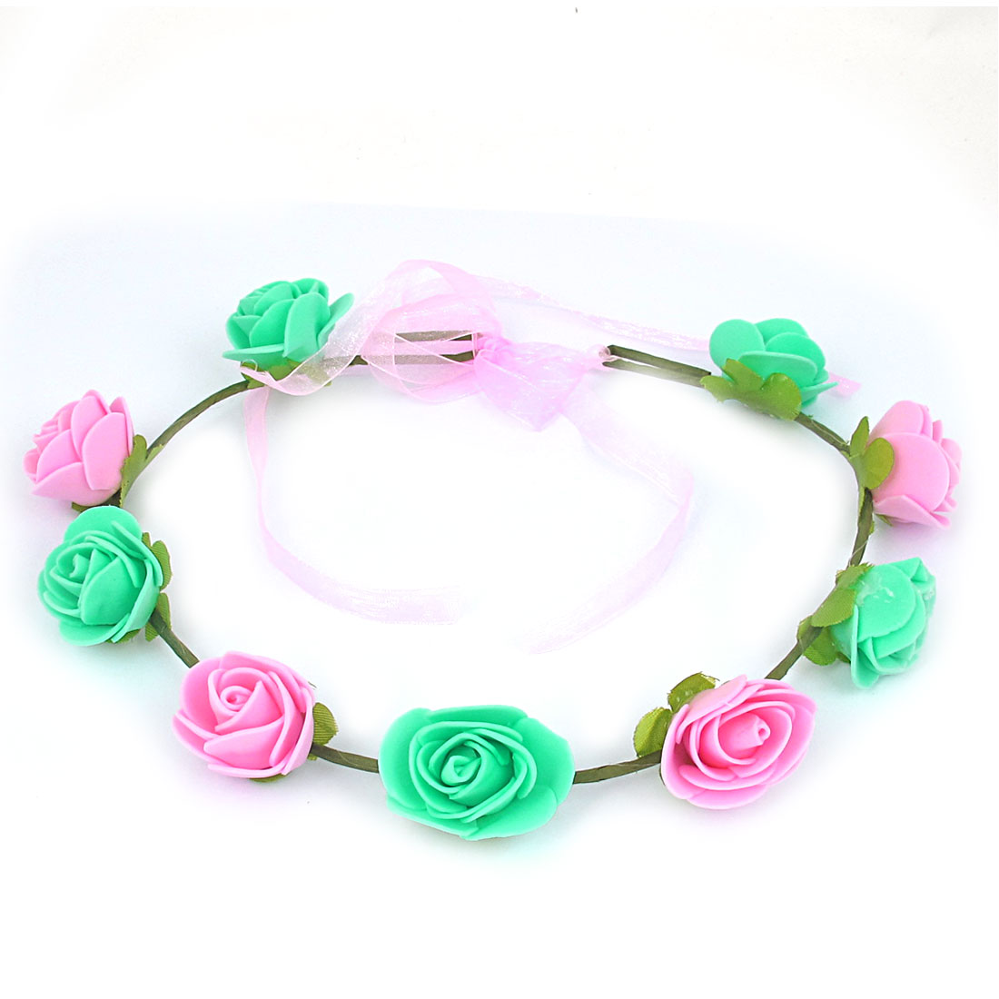 Women Hairdressing Flowers Design Elastic Headwear Hair Crown Wreath Pink Green