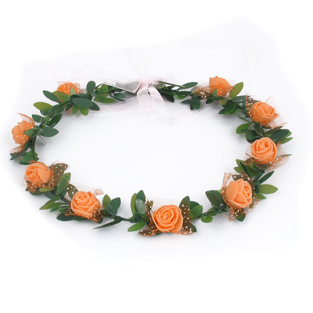Lady Wedding Party Flower Decor Adjustable Headwear Headdress Hair Crown Wreath Orange