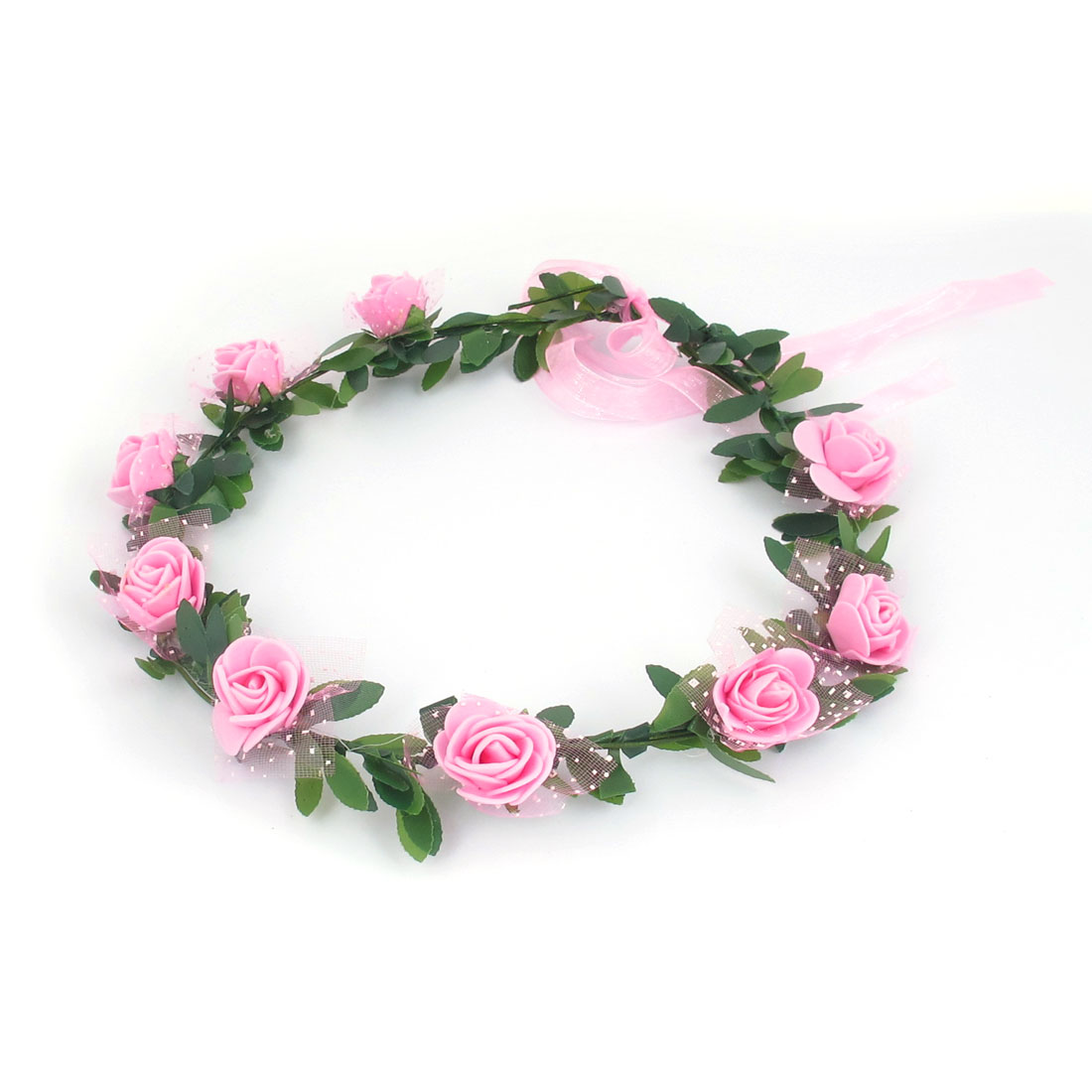 Lady Wedding Party Flower Decor Adjustable Headwear Headdress Hair Crown Wreath Pink