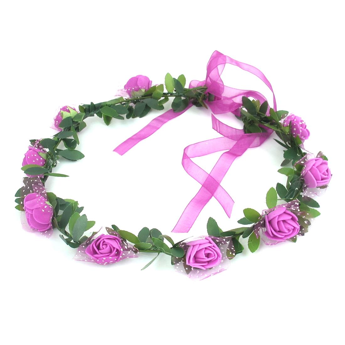 Lady Wedding Party Flower Decor Adjustable Headwear Headdress Hair Crown Wreath Fuchsia