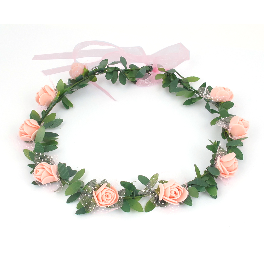 Lady Wedding Party Flower Decor Adjustable Headwear Headdress Hair Crown Wreath Light Pink