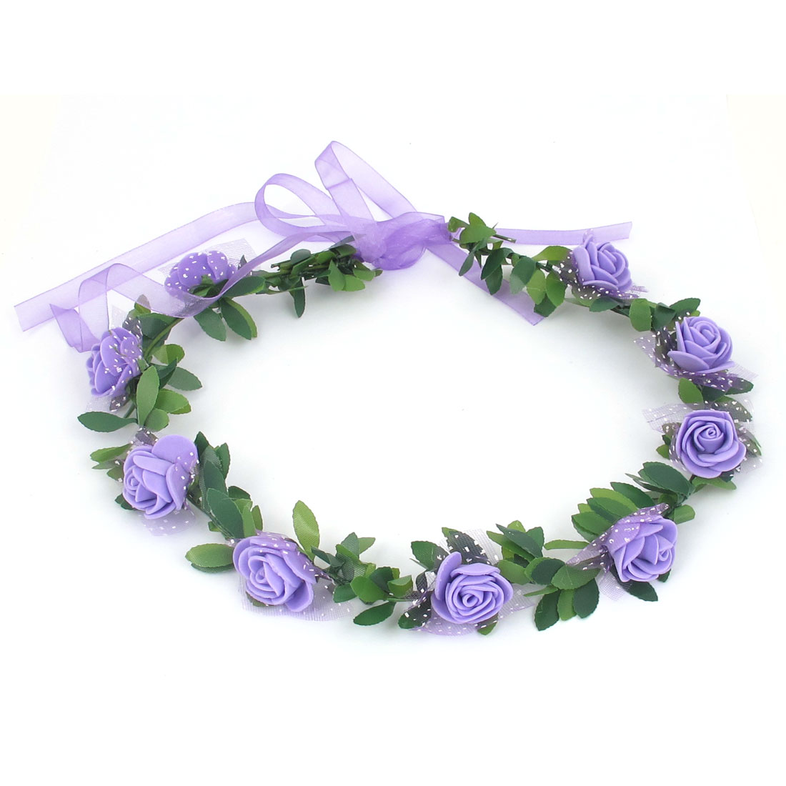 Lady Wedding Party Flower Decor Adjustable Headwear Headdress Hair Crown Wreath Purple