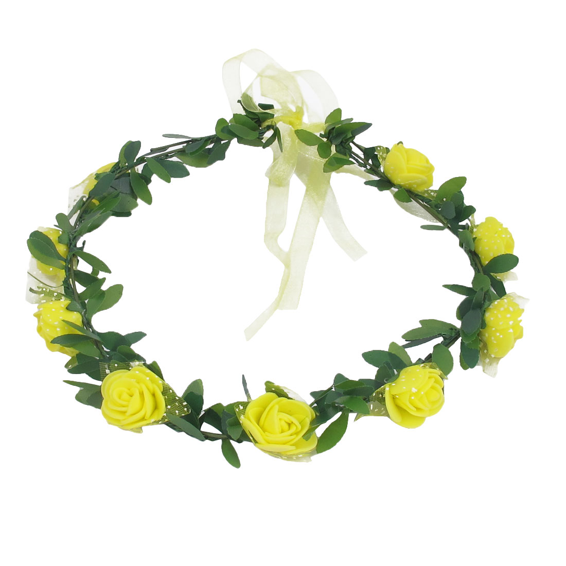 Lady Wedding Party Flower Decor Adjustable Headwear Headdress Hair Crown Wreath Yellow