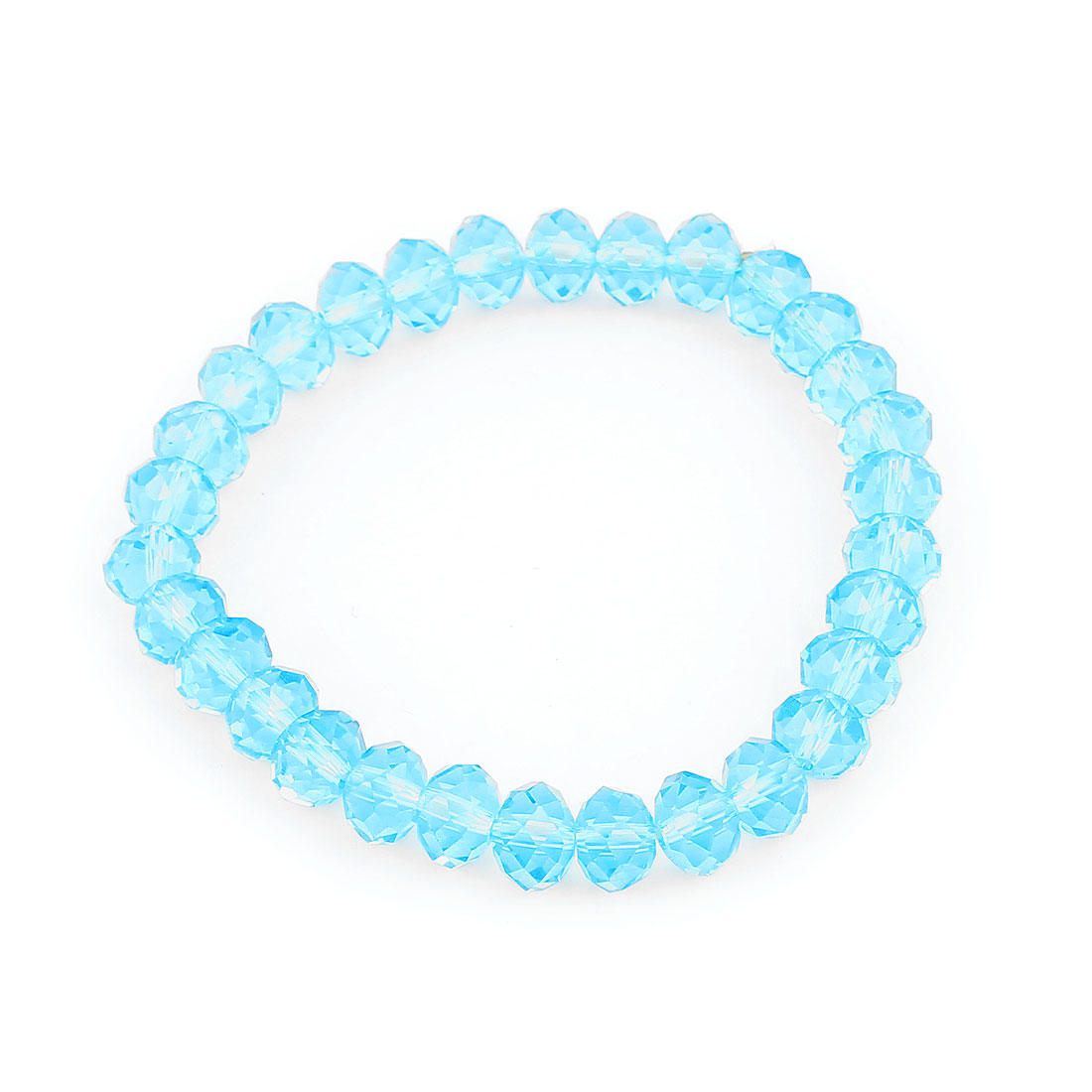 Lady Faceted Faux Crystal Beads Accent Elastic Band Wrist Ornament Bracelet Blue