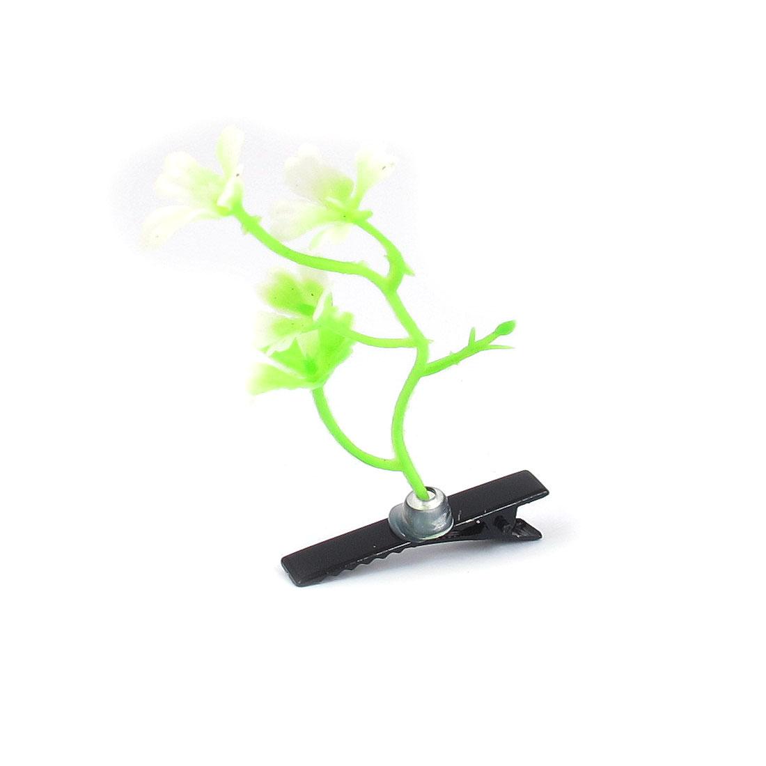 Flower Plant Antenna Hair Clips Hairpins Yellow Green for Girls Children