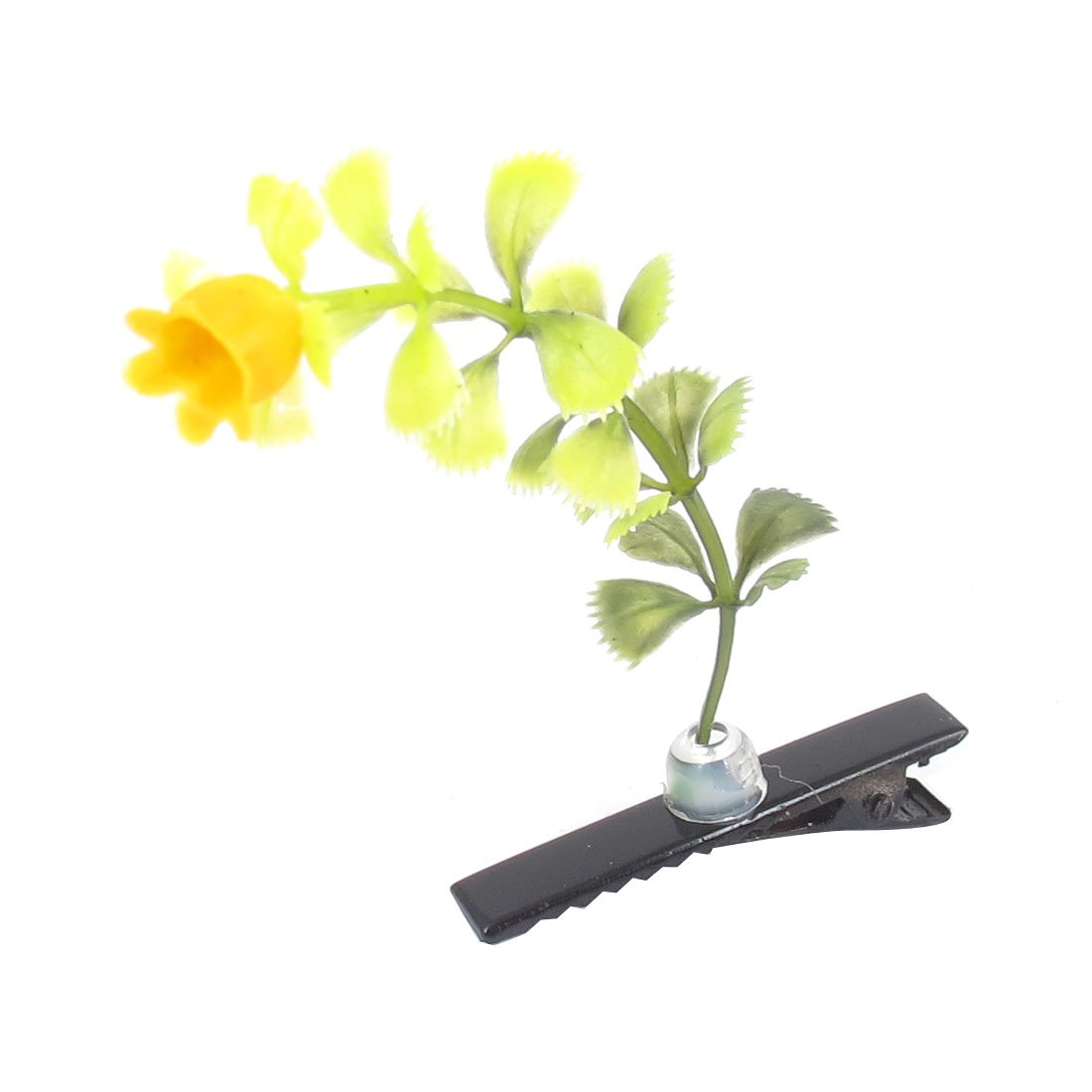 Girls Plastic Plant Flower Leaves Antenna Hair Clip Hairpins Yellow