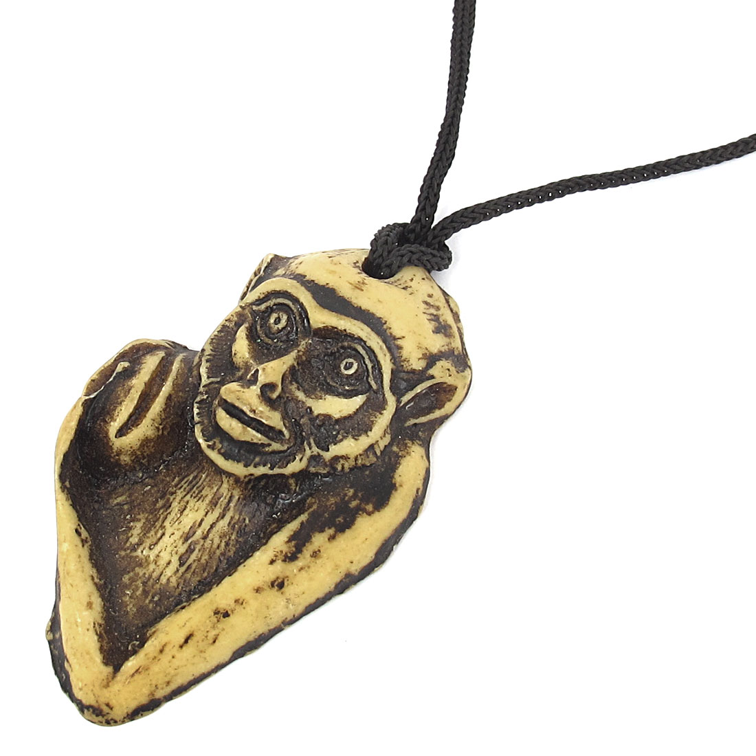 Men Black Nylon Neck String Monkey Head Pendant Necklace