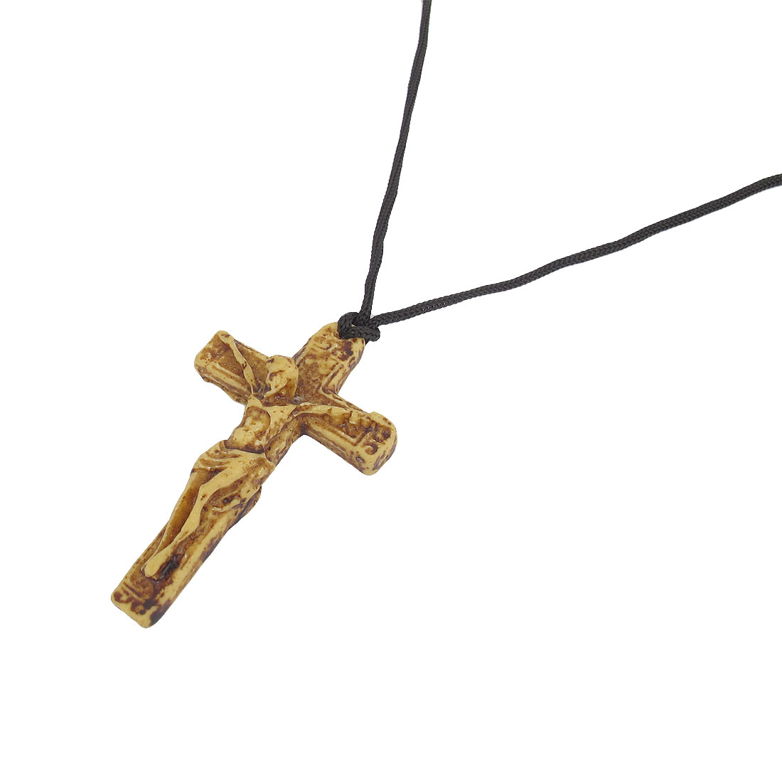Men Plastic Crucifixion Cross Pendant Nylon String Necklace Beige Black