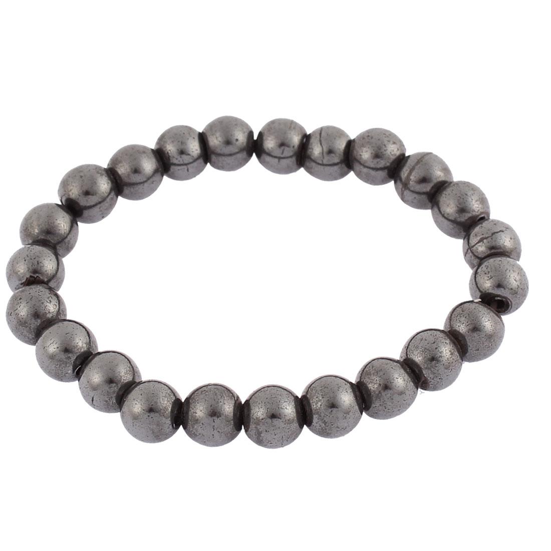 Women Men Round Hematite Beads Elastic Wrist Magnetic Bracelet Bangle Dark Grey