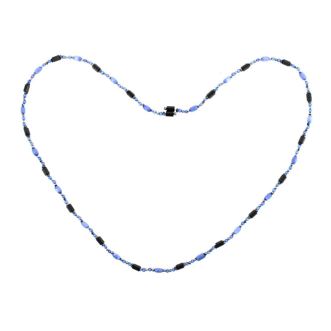 Women Magnet Clasp Hematite Magnetic Bracelet Choker Necklace Indigo Blue Black