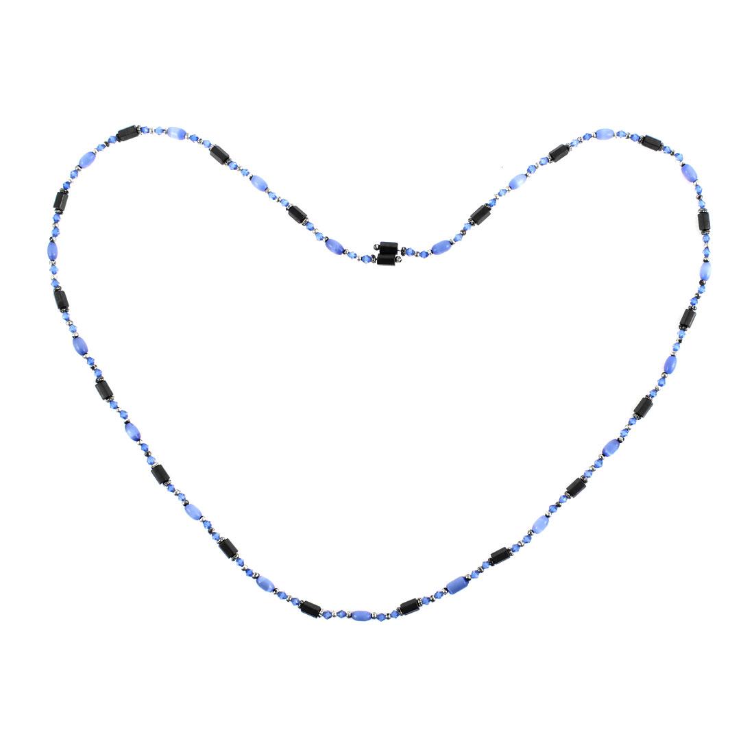 Women Magnet Clasp Hematite Magnetic Bracelet Choker Necklace Indigo Blue Black