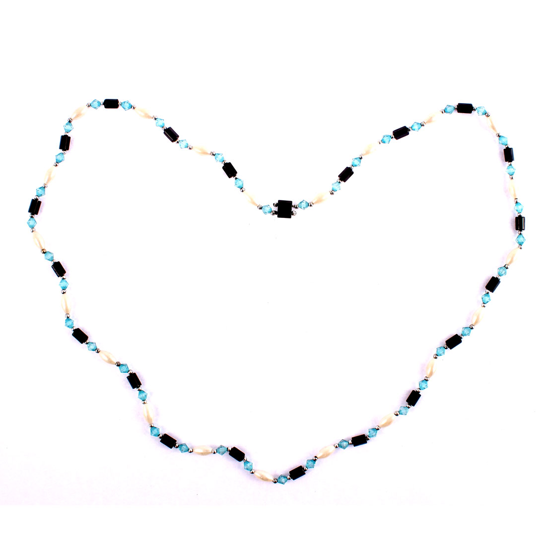 Women Hematite Beads Magnetic Clasp Bracelet Choker Necklace Chain Blue