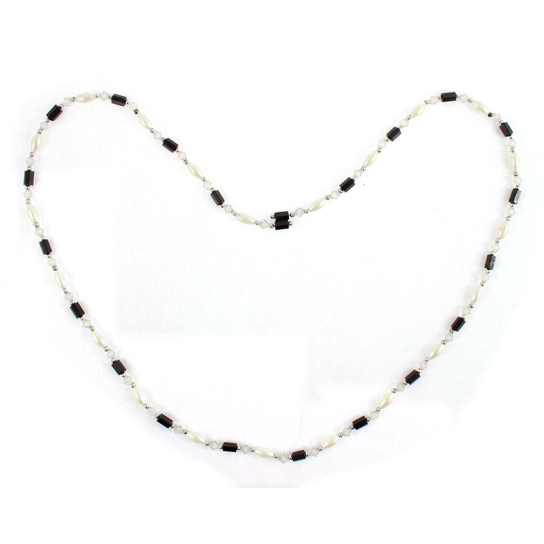 Women Hematite Beads Magnetic Clasp Bracelet Choker Necklace Chain White