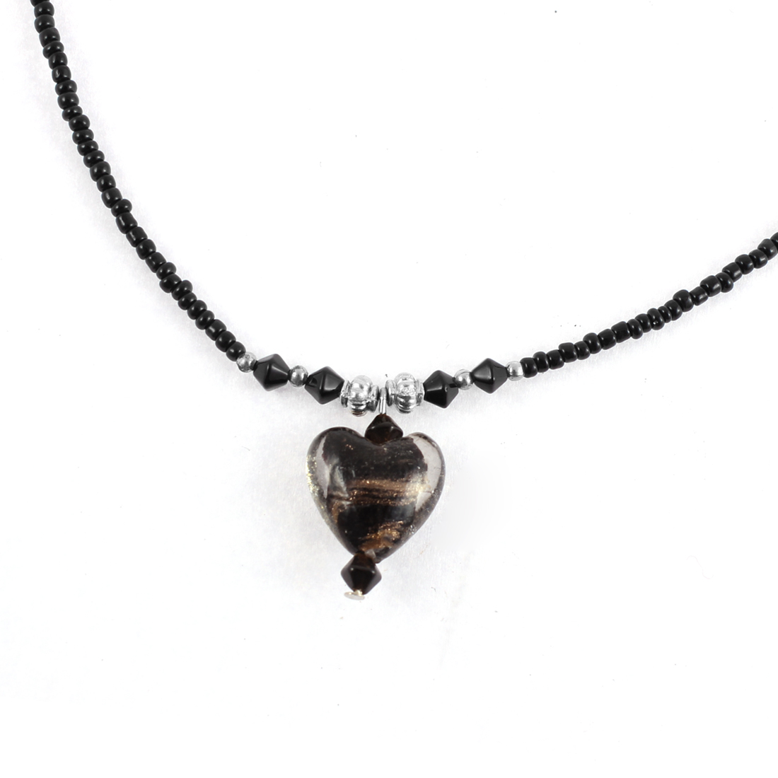 Women Heart Shaped Bead Pendant Beaded Chain Necklace Black