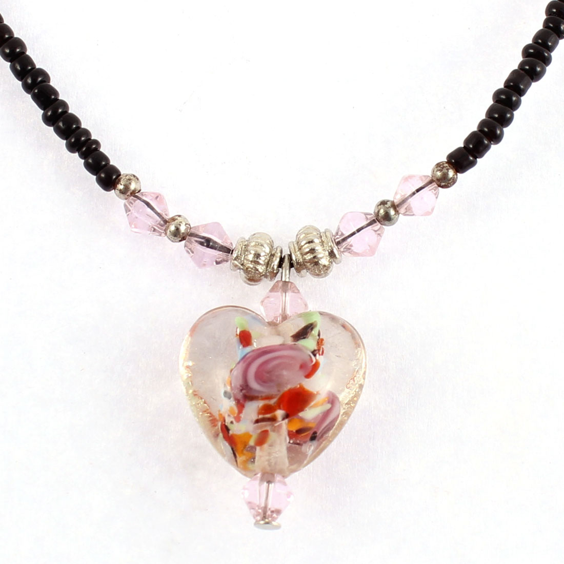 Lady Heart Shaped Bead Pendant Beaded String Chain Necklace Light Pink Black