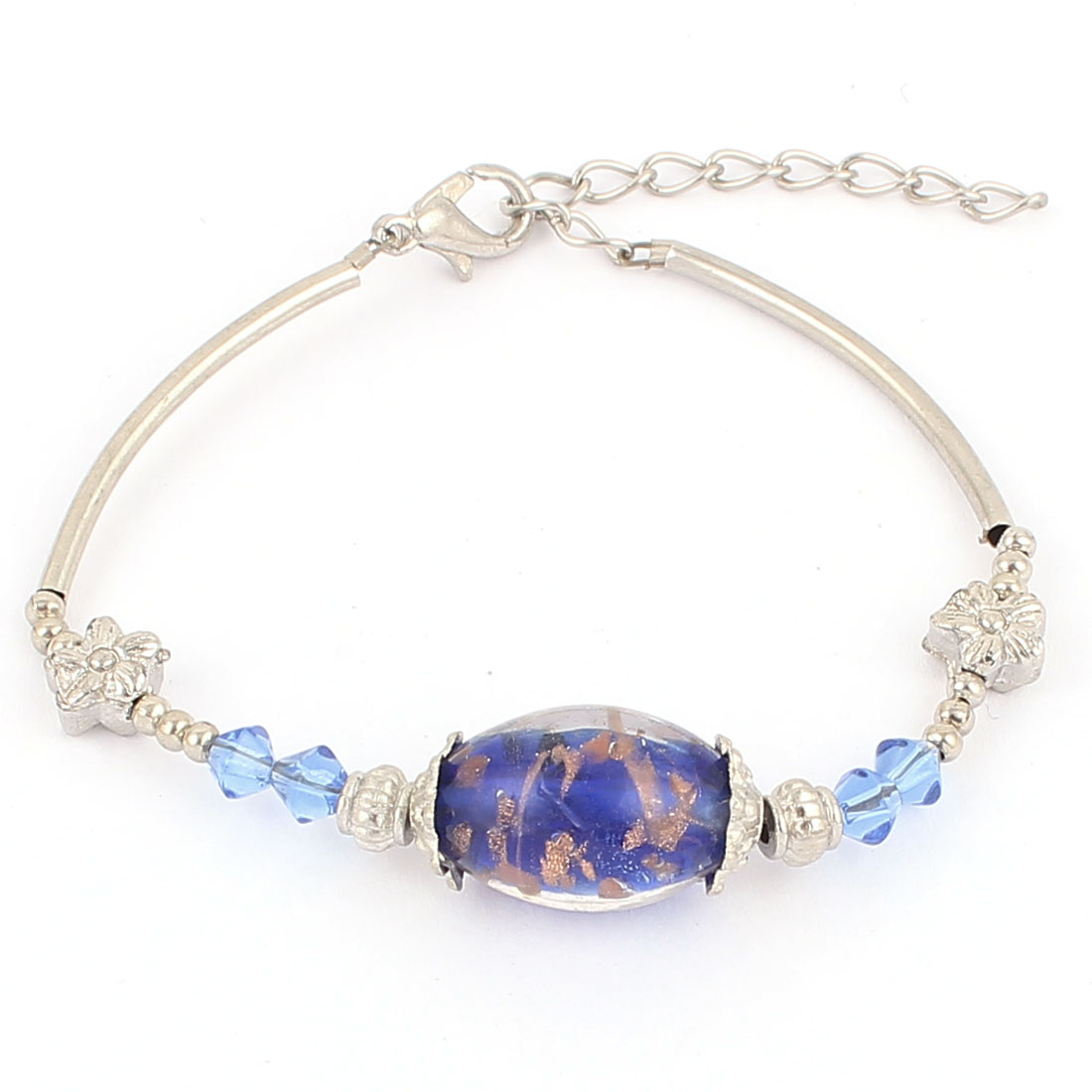 Women Oval Bead Detail Lobster Clasp Adjustable Chain Bracelet Royal Blue