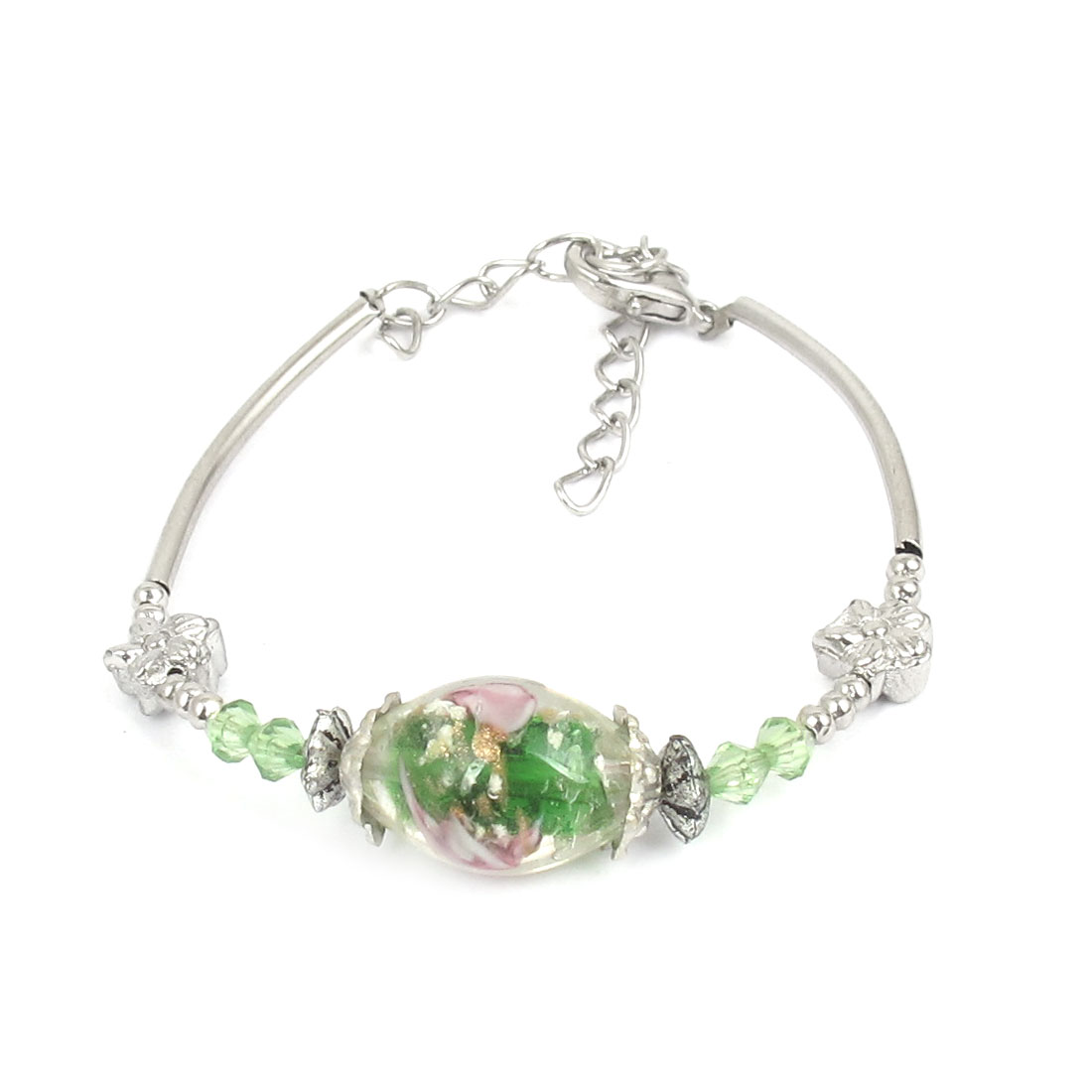 Women Lobster Clasp Link Oval Bead Detail Wrist Decoration Bracelet Bangle Green