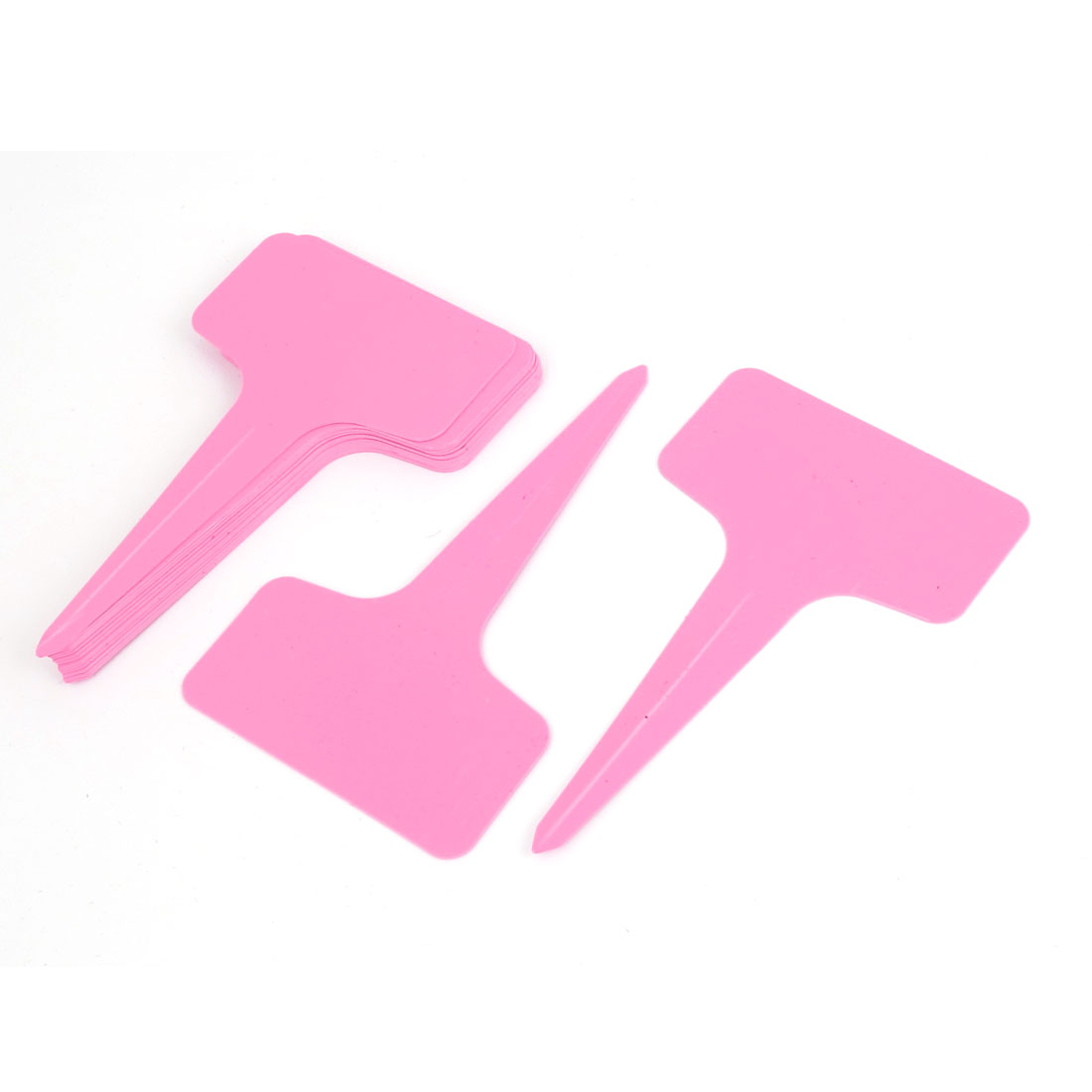 15pcs Plastic Plant T-type Tags Markers Seedling Nursery Gardening Stick Pink