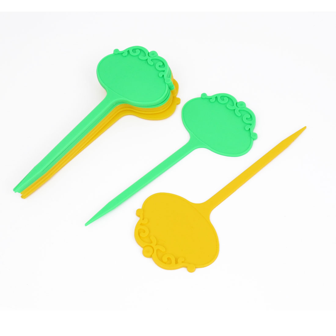 10pcs Seedling Nursery Gardening Yard Plants Seeds Tag Label Marker Stick Green Yellow